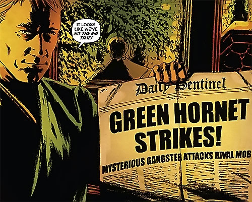 Green Hornet (Matt Wagner Dynamite Comics) with a newspaper