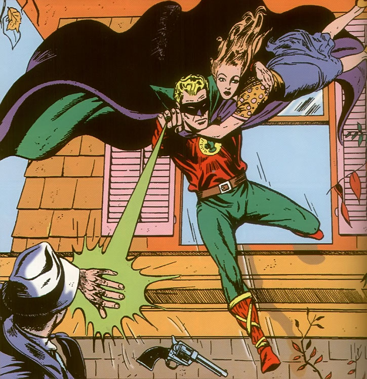 Green Lantern (Alan Scott) vs. gangsters during the 1940s