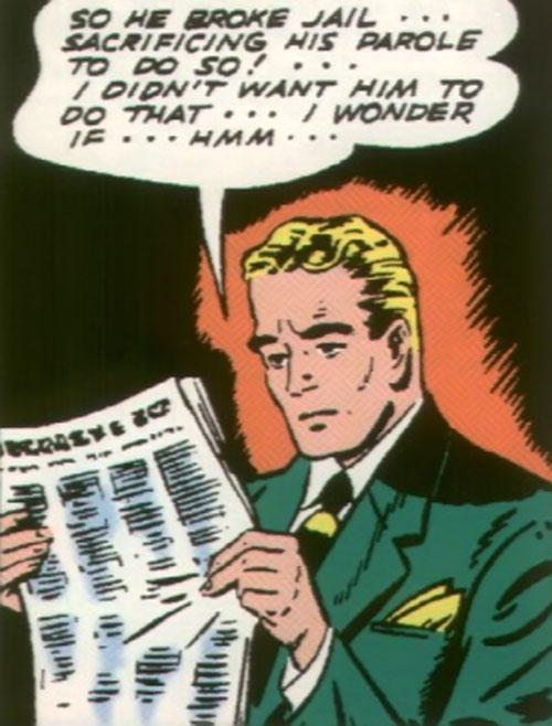 Green Lantern (Alan Scott) (DC Comics) reading the newspaper