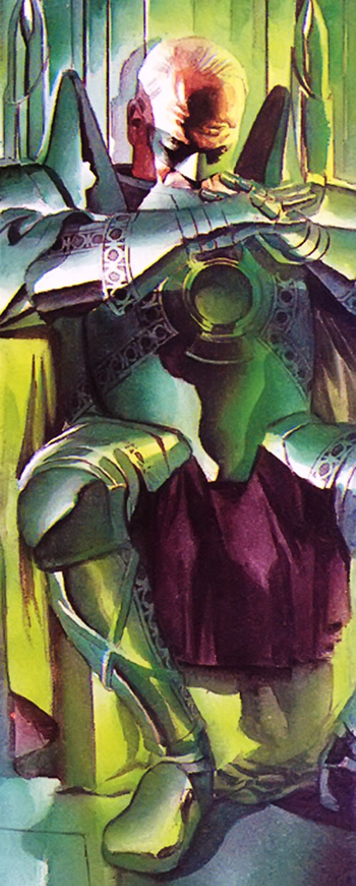 Green Lantern Alan Scott on his Kingdom Come throne