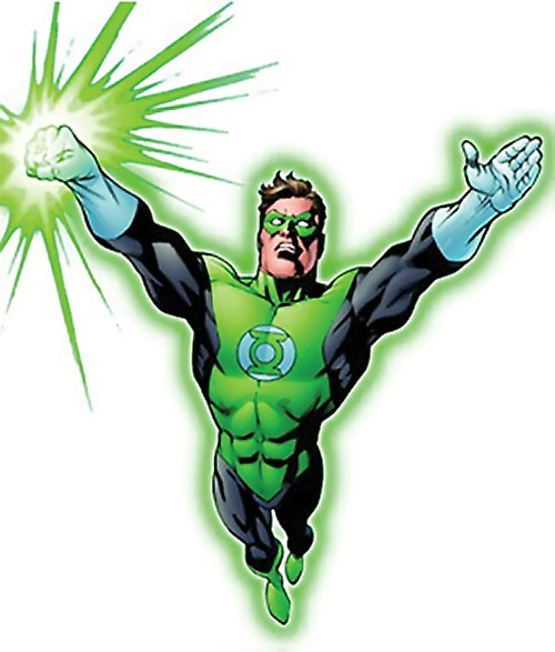 Green Lantern Hal Jordan (DC Comics) flying with glowing ring