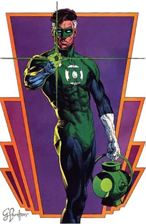 Green Lantern Hal Jordan (DC Comics) over a violet and orange motif