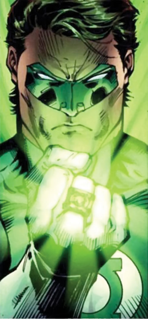 Green Lantern Hal Jordan (DC Comics) face closeup with shining ring