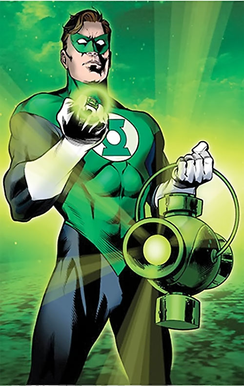 Green Lantern Hal Jordan (DC Comics) holding his battery