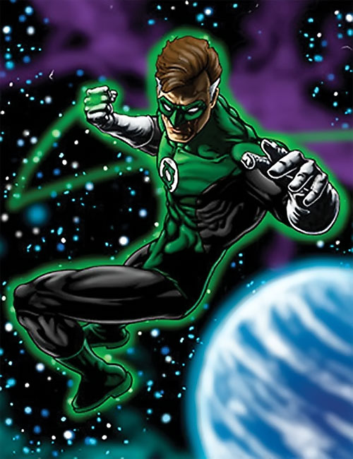 Green Lantern Hal Jordan (DC Comics) in space near a blue planet