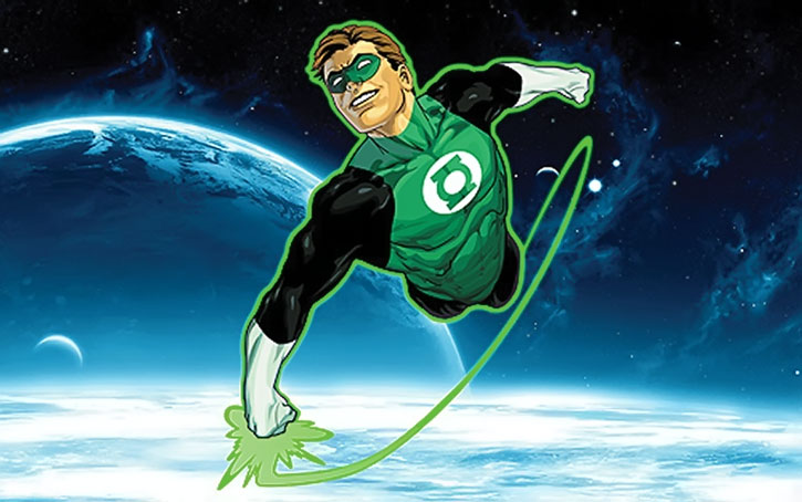 Green Lantern (Hal Jordan) flying in space