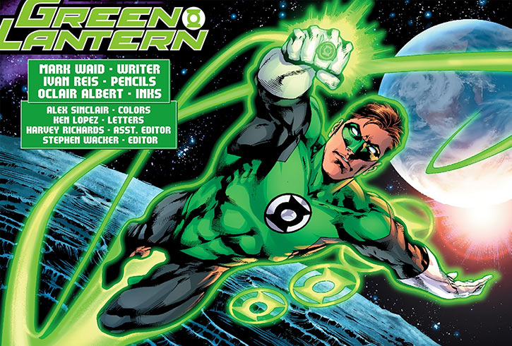 Green Lantern flying in space