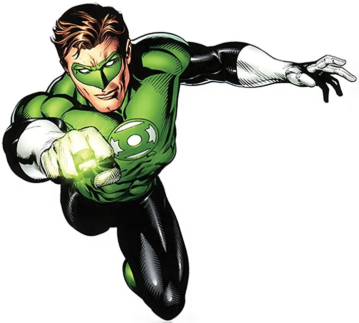 Green Lantern (Hal Jordan) flying with his ring