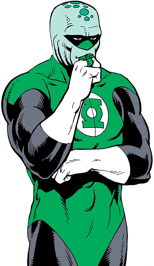 Green Man (DC Comics) with his Green Lantern uniform and ring, thinking