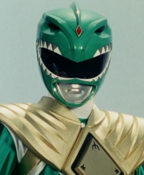 Green Ranger (Tommy Oliver) of the Mighty Morphin' Power Rangers helm closeup blue-grey background