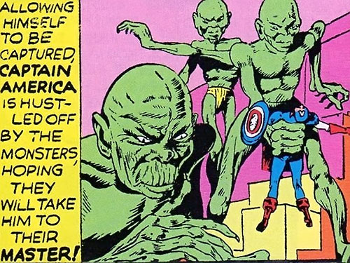 Green Tibetan / Oriental Giants (Captain America enemies) (Golden Age Timely Comics) capture cap