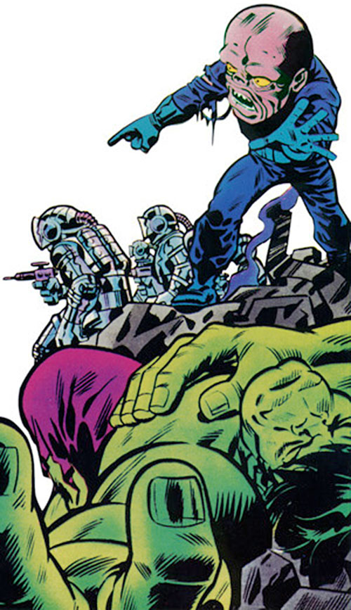 Gremlin (Marvel Comics) and a fallen Hulk
