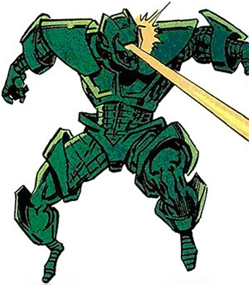Gremlin in his Titanium Man armor (Marvel Comics) firing an eyebeam