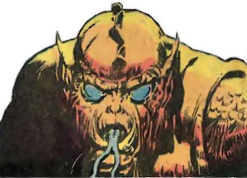 Grendel (Beowulf / Wonder Woman enemy) (DC Comics) face closeup blue eyes and forked tongue