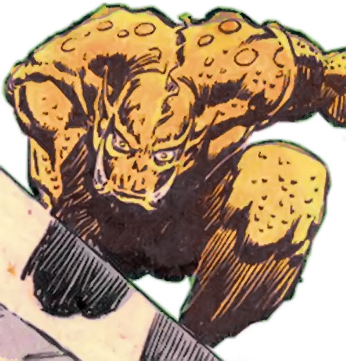 Grendel (Beowulf / Wonder Woman enemy) (DC Comics) perched atop a wall
