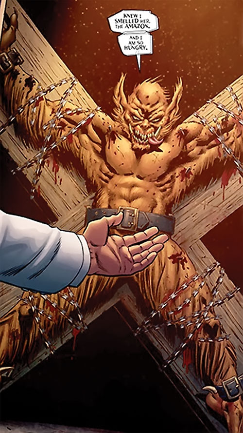 Grendel (Beowulf / Wonder Woman enemy) (DC Comics) crucified with barbed wire