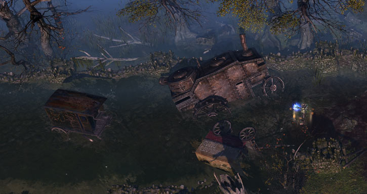 Grim Dawn - Game screenshot - War wagon and carts on flooded road