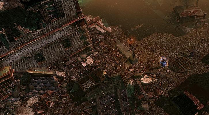 Grim Dawn - Game screenshot - Medical building ruin