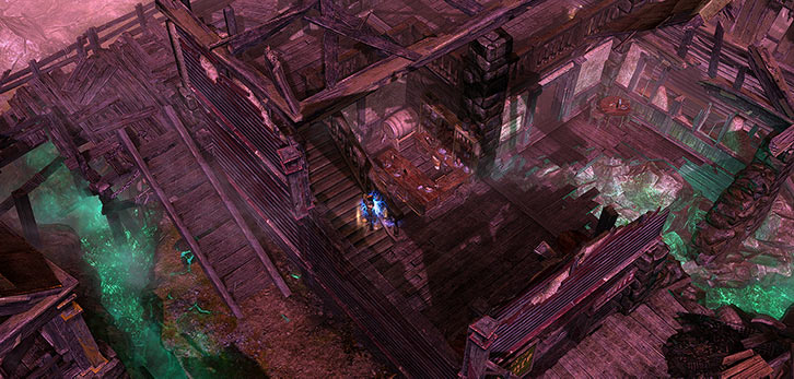 Grim Dawn - Game screenshot - Wrecked bar in the outskirts of Malmouth