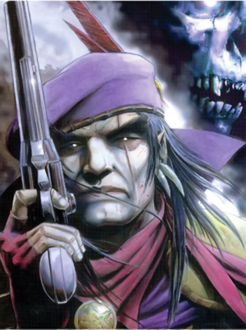 Grimjack (early comics) with shiny eyes and a pistol