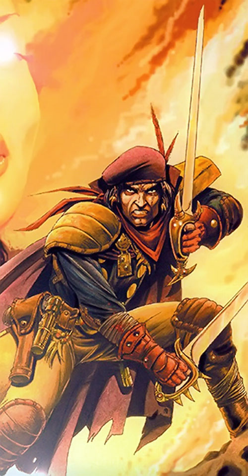 Grimjack (early comics) with 2 cutlasses orange sky