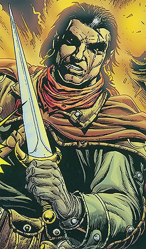Grimjack (early comics) with eyes glowing and sword