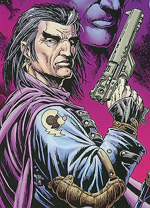 Grimjack (early comics) posing with a pistol