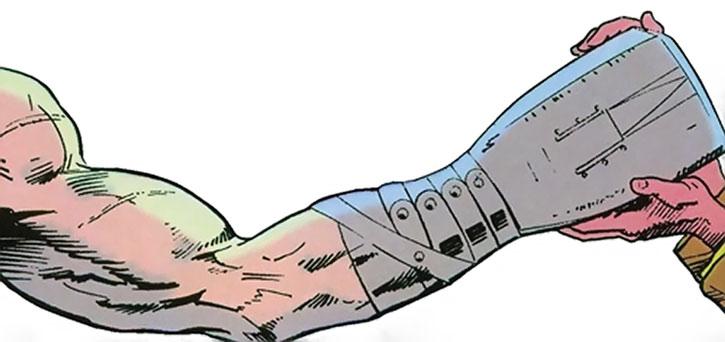 Grimjack's hand prosthetics