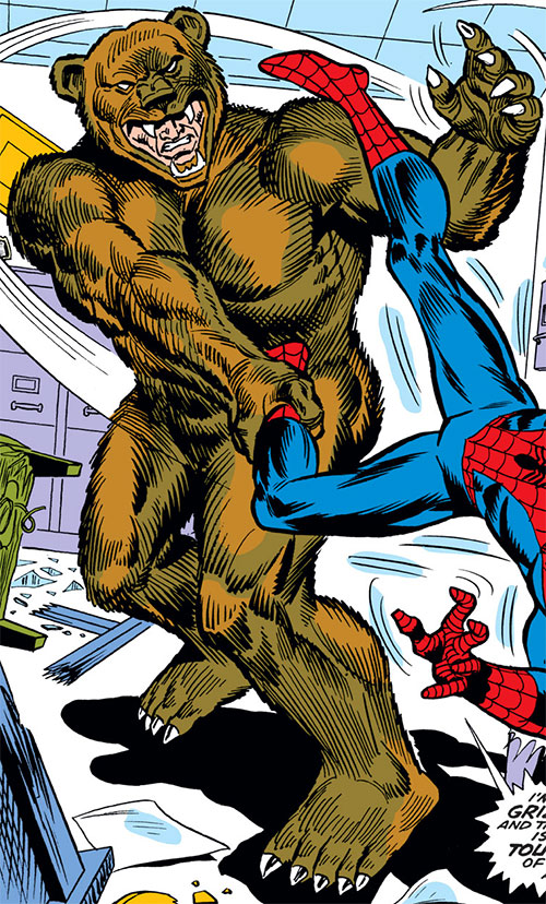 Grizzly (Marvel Comics) slams Spider-Man into a wall