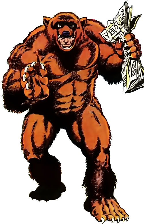 Grizzly (Marvel Comics) with a copy of the Daily Bugle