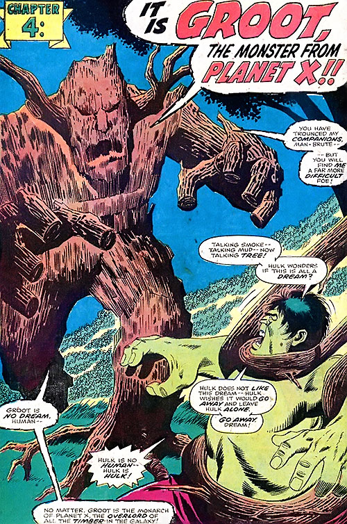 Groot (Marvel Comics) (Vintage Silver Age version) vs. the Hulk