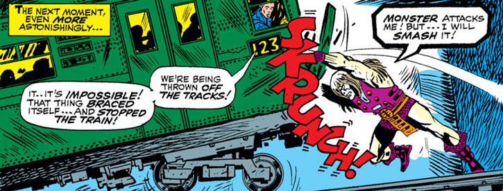 Grotesk (Marvel Comics) (X-Men enemy) stops a subway train
