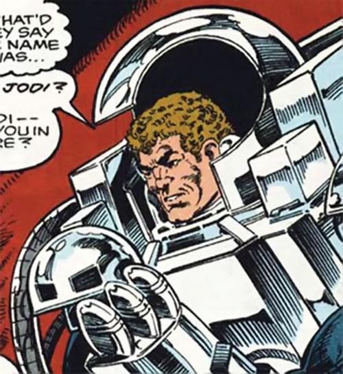 Groundhog of Alpha Flight (Marvel Comics) (Benard) taking off his helmet