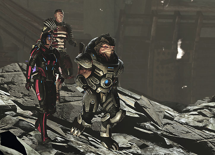 Grunt, Commander Shepard and Zaeed Massani after Grunt's coming of age rite