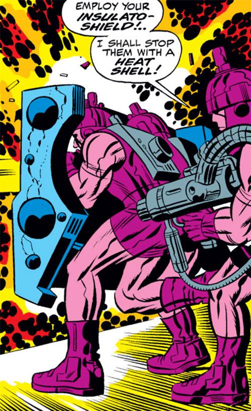 Doctor Doom's guardian robots (Marvel Comics) using an insulato-shield