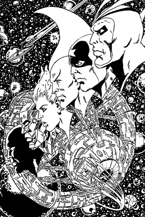 Guardians of the Galaxy team (original Marvel Comics version) B&W art with space station