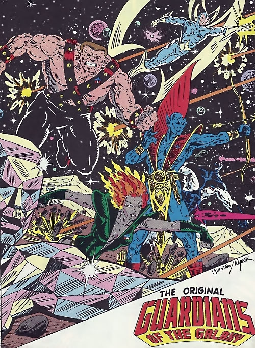 Guardians of the Galaxy team (original Marvel Comics version) Valentino splash page