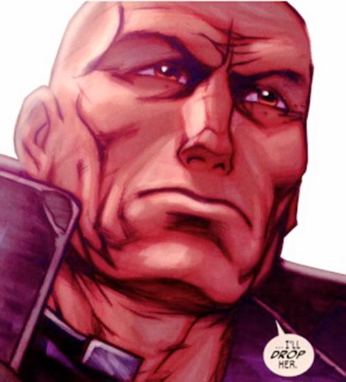 Guardsman Kyuzo (Red Star comics) low angle face closeup