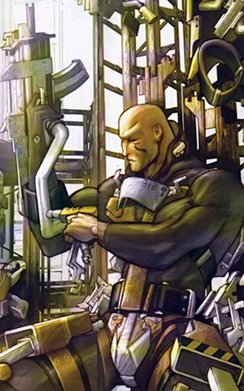 Guardsman Kyuzo (Red Star comics) putting on a rail fighting suit