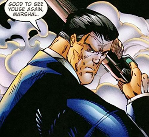 Guido Masseria (Wynonna Earp ally) (Image Comics) face closeup with shotgun