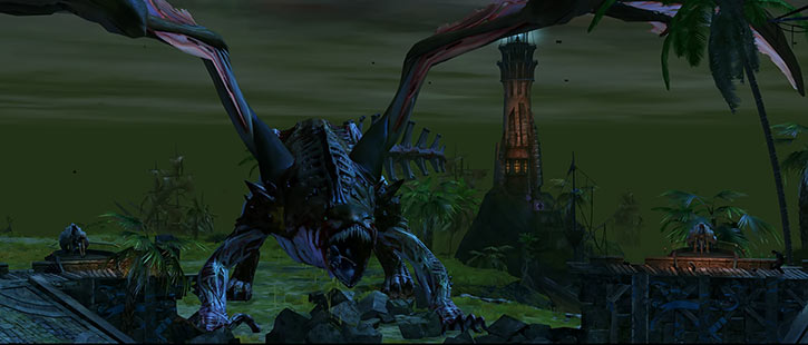 Guild Wars - Undead dragon attacking Claw Island at night