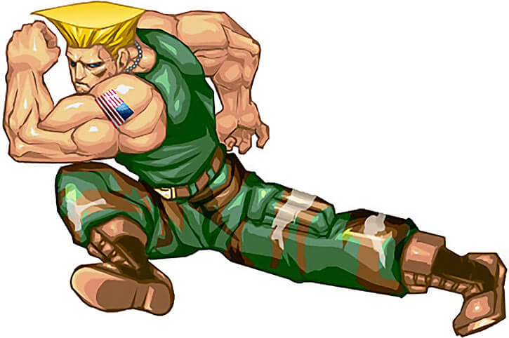 Guile in mid-leap