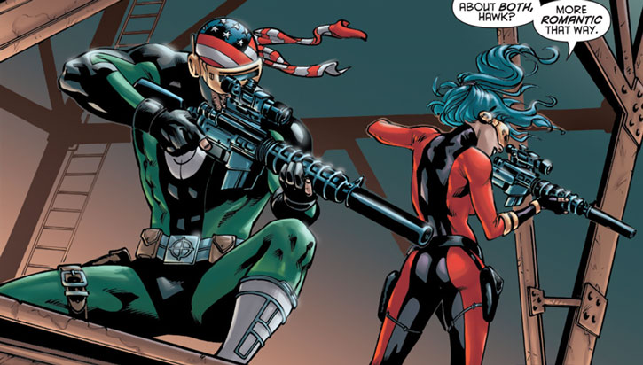Gunhawk (DC Comics) and the second Gunbunny on a sniper's perch