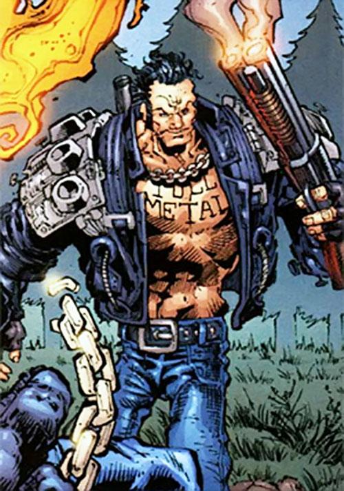 Gunmetal Gray (Ghost Rider enemy) (Marvel Comics) with a smoking shotgun