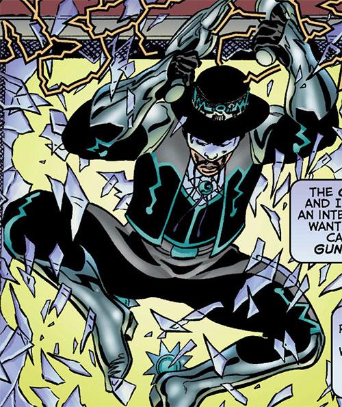 Gunslinger (Astro City comics) crashing through a window