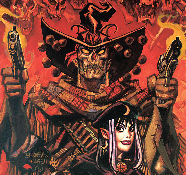 Gunwitch (Brereton Nocturnals comics) with Eve and red skulls