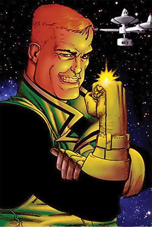 Guy Gardner (DC Comics) grinning in space with a yellow ring