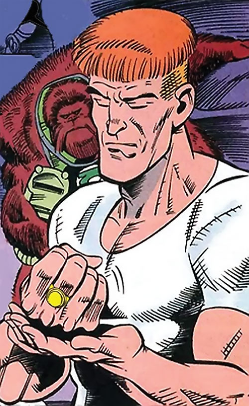 Guy Gardner (DC Comics) with a yellow ring and white T-shirt