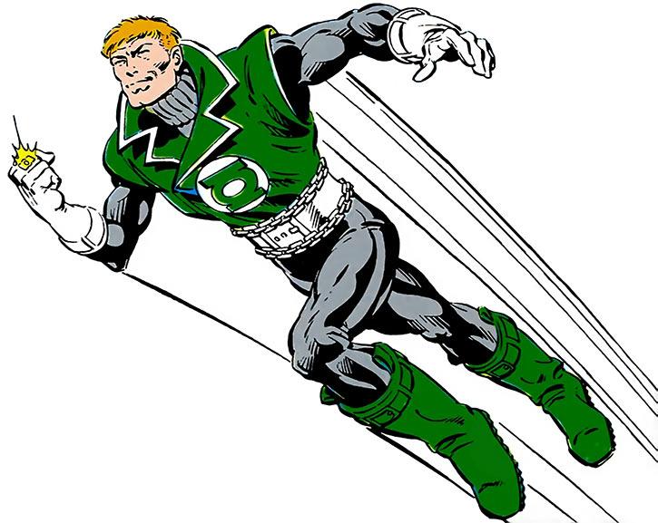 Green Lantern Guy Gardner flying on white background