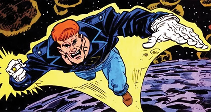 Guy Gardner in space with a yellow ring